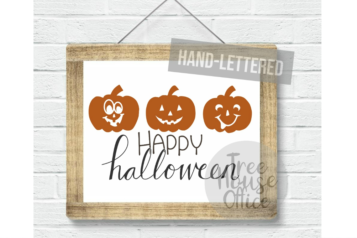 Happy Halloween Cute Pumpkin Front Porch Sign SVG PNG JPG example image 3