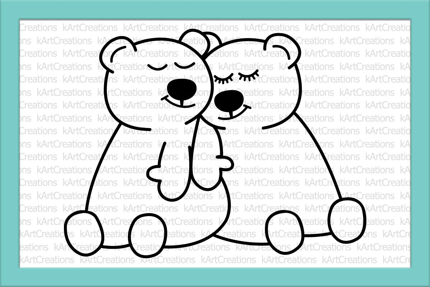 Loving Valentines day couple bears svg dxf to cut print file example image 2