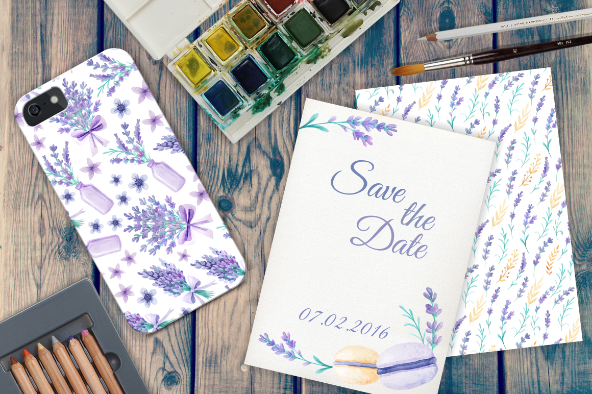 Watercolor Lavender Design Pack example image 8