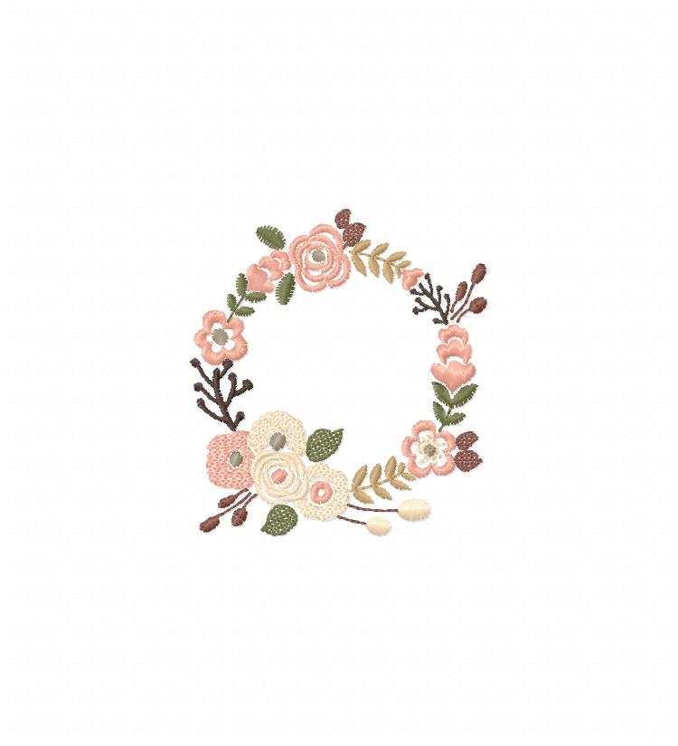 Floral Wreath Font Frame Monogram Design - EMBROIDERY DESIGN FILE - Instant download - Vp3 Hus Dst Exp Jef Pes formats 5 sizes 3,4,5,6,7inch example image 4