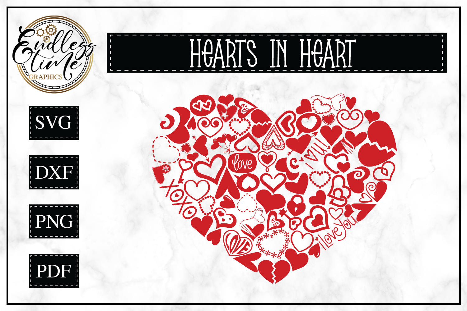 Hearts in Heart SVG Cut FIle example image 1