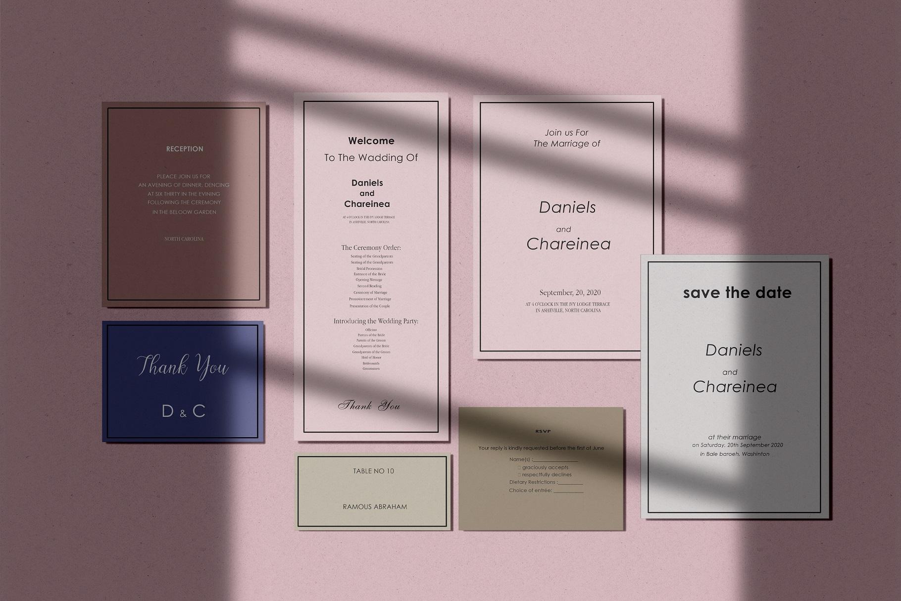 Wedding Invitation Suite Mockup example image 1