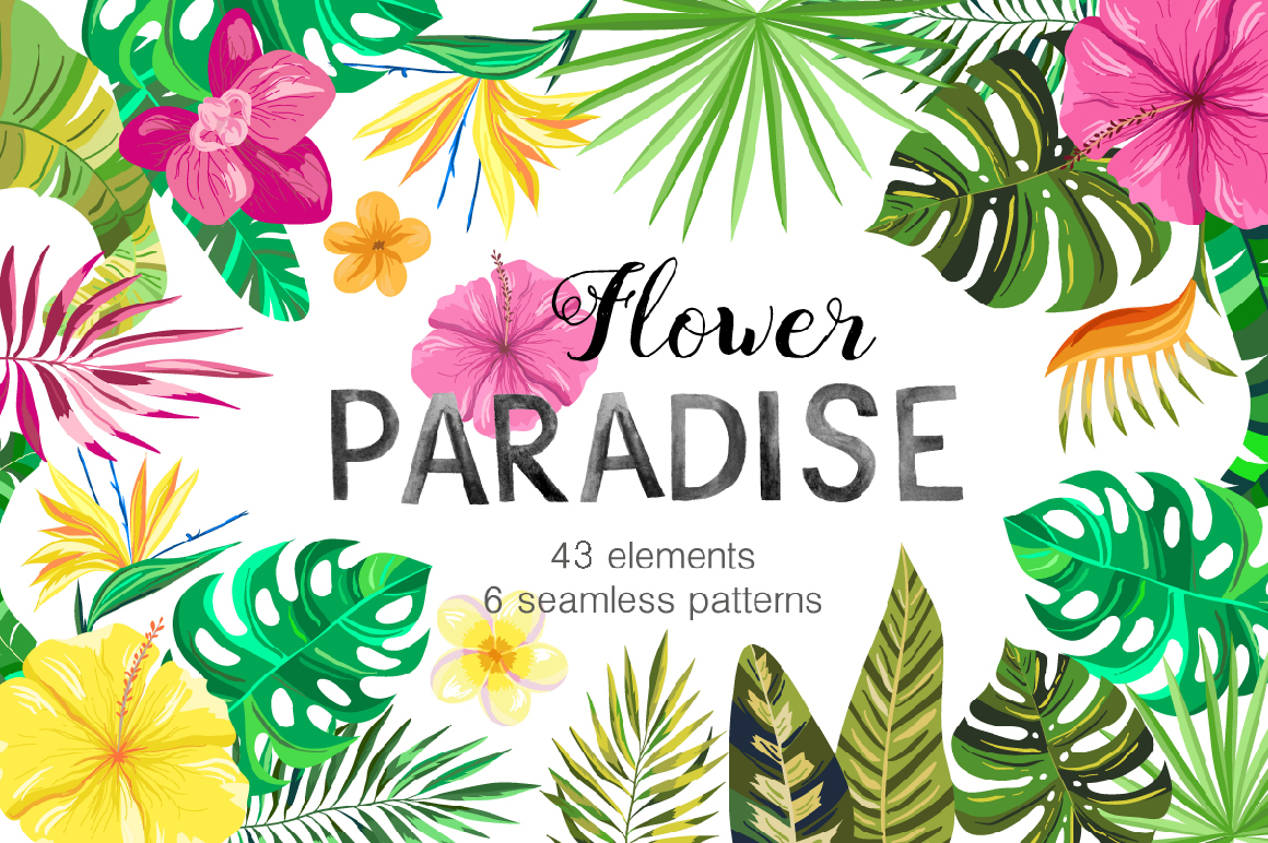 Vector Flower Paradise Set example image 1
