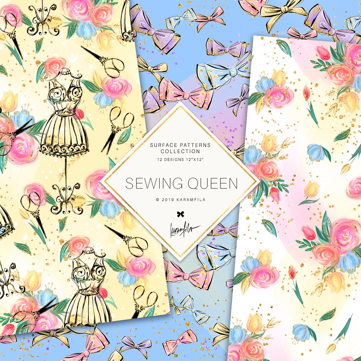 Sewing Girl Digital Paper example image 6