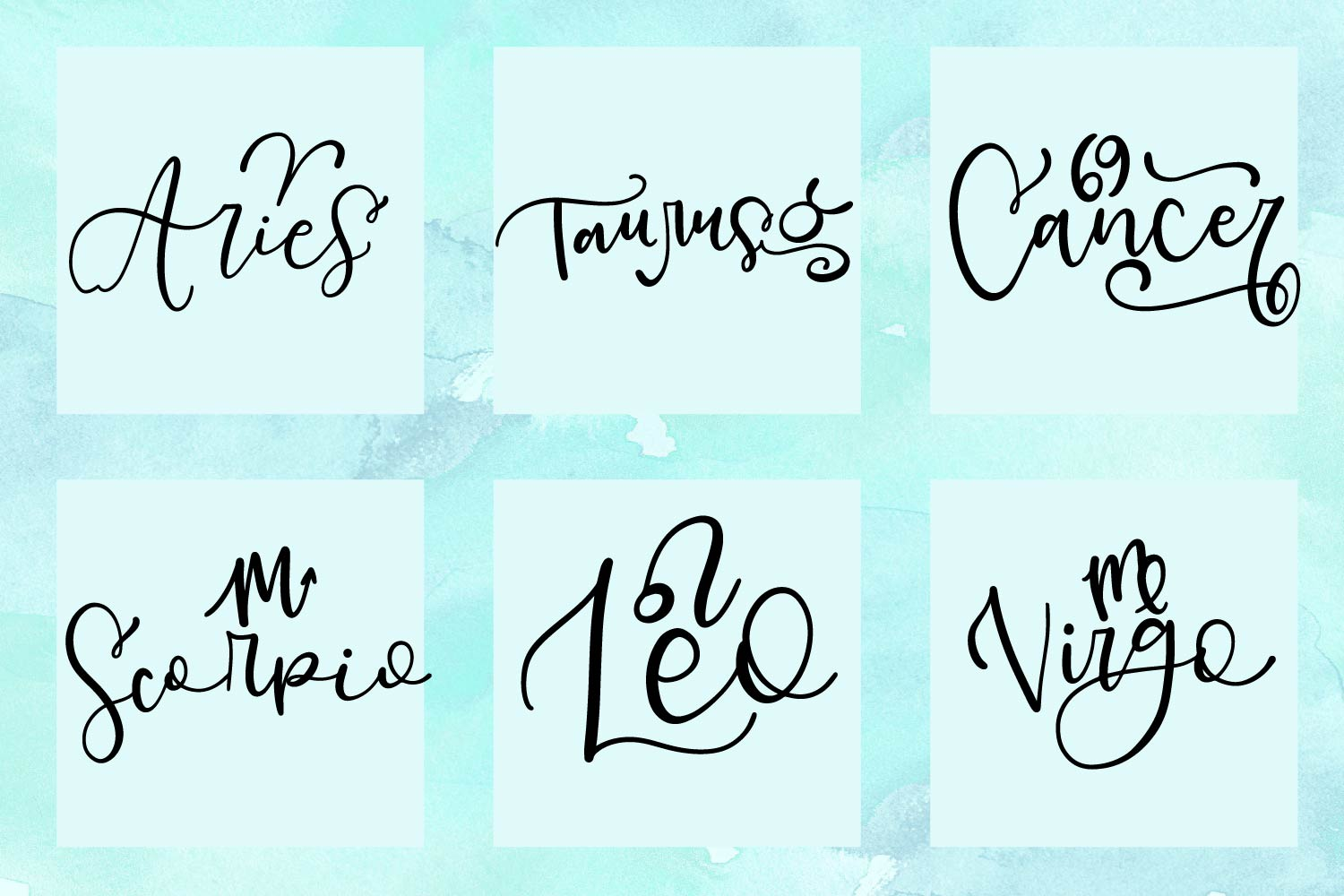 12 Hand Lettered Zodiac Signs - SVG Bundle Pack example image 3