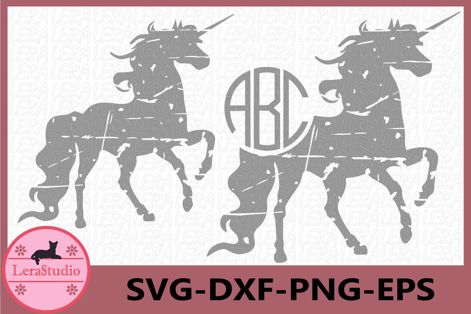 Unicorn Grunge svg, Unicorn Monogram, Unicorn Vector,Digital example image 1