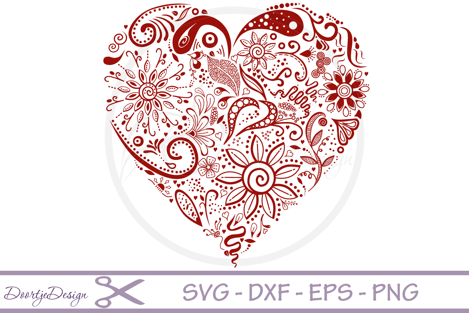 Cutting files Heart Floral example image 1