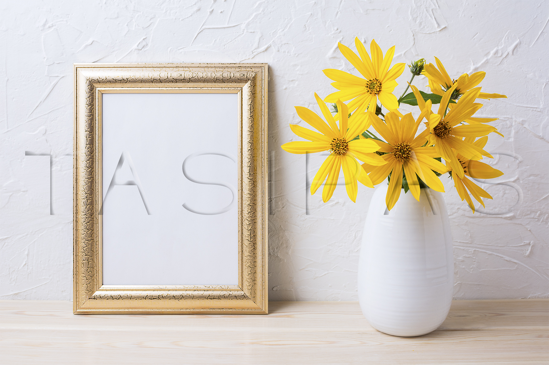 Golden frame mockup with yellow rosinweed flowers in vase example image 2