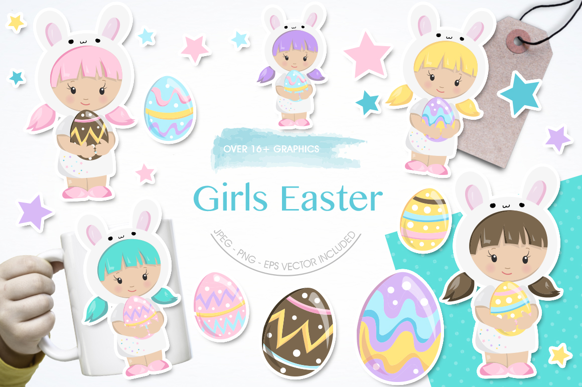 Girls Easter graphic and illustrations example image 1