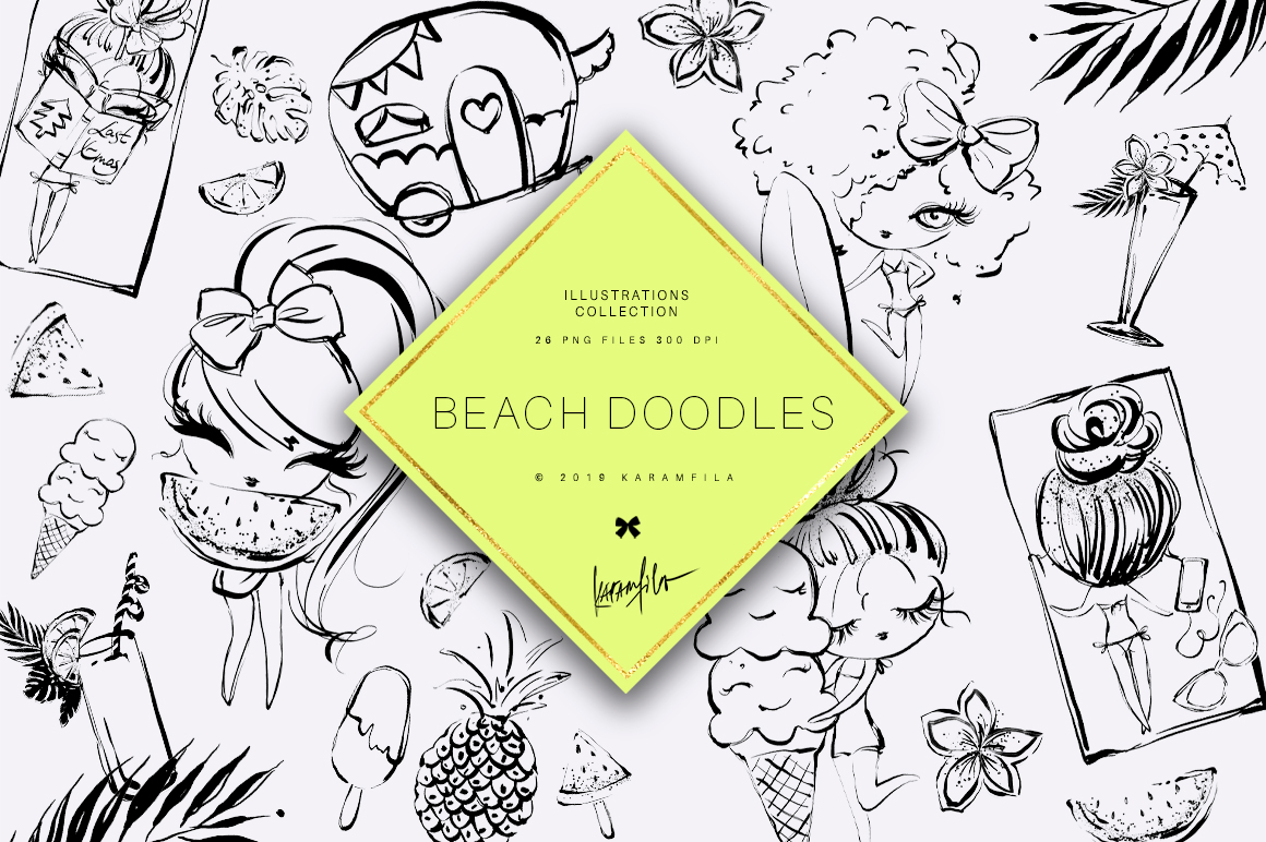 Beach Doodles Clipart example image 1