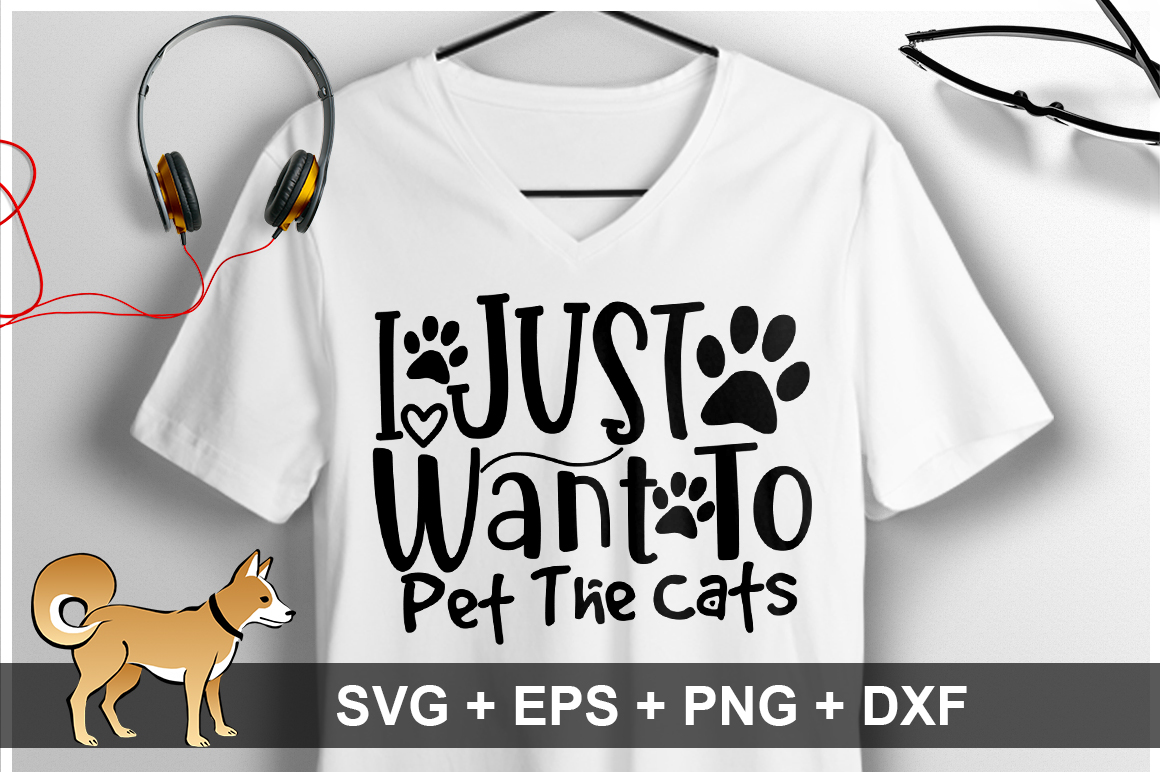 I Just Want To Pet The Cats SVG Design example image 1