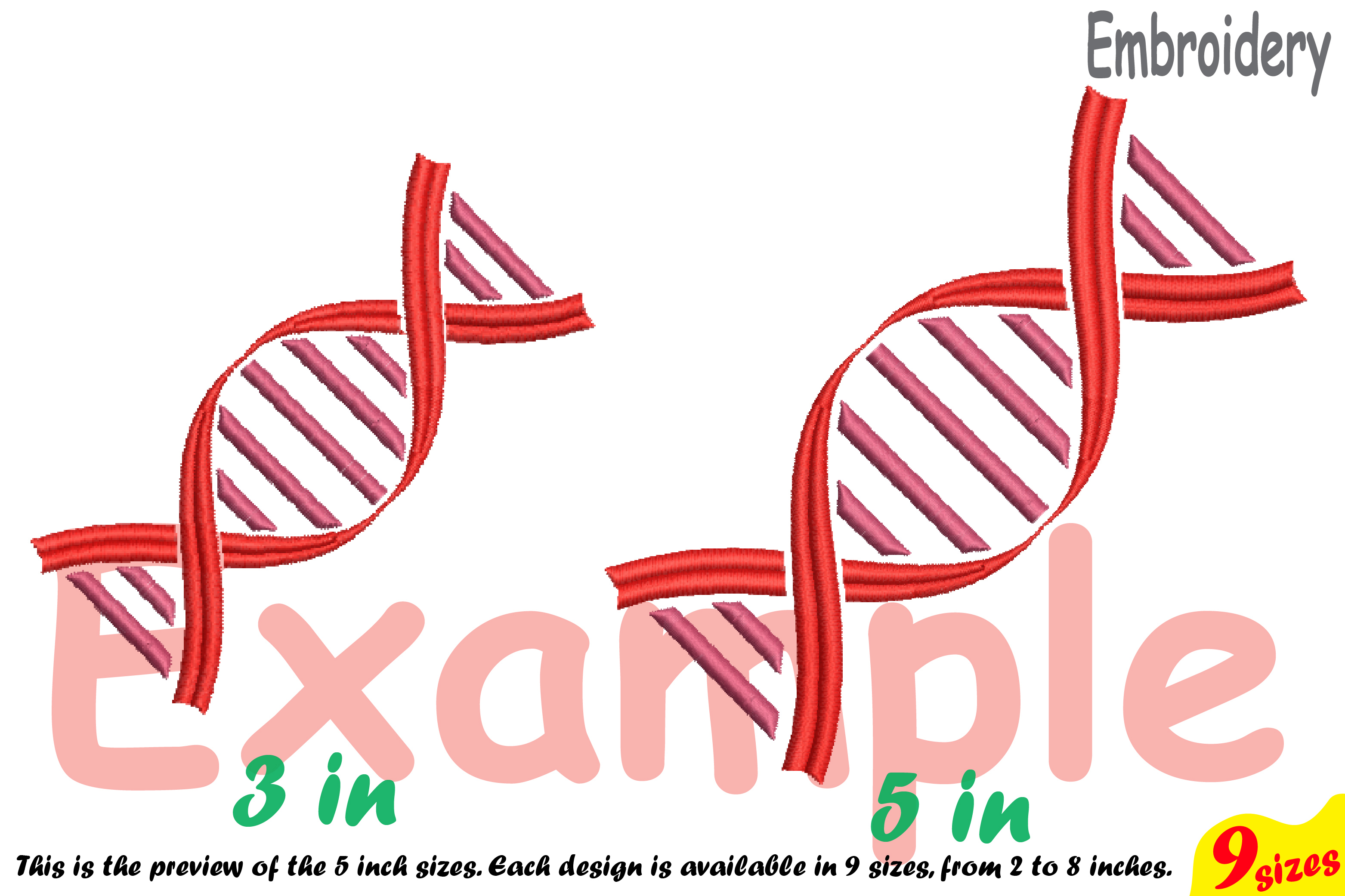 DNA Structure - Science - Designs for Embroidery Machine Instant Download Commercial Use digital file 4x4 5x7 hoop icon symbol sign 194b example image 4