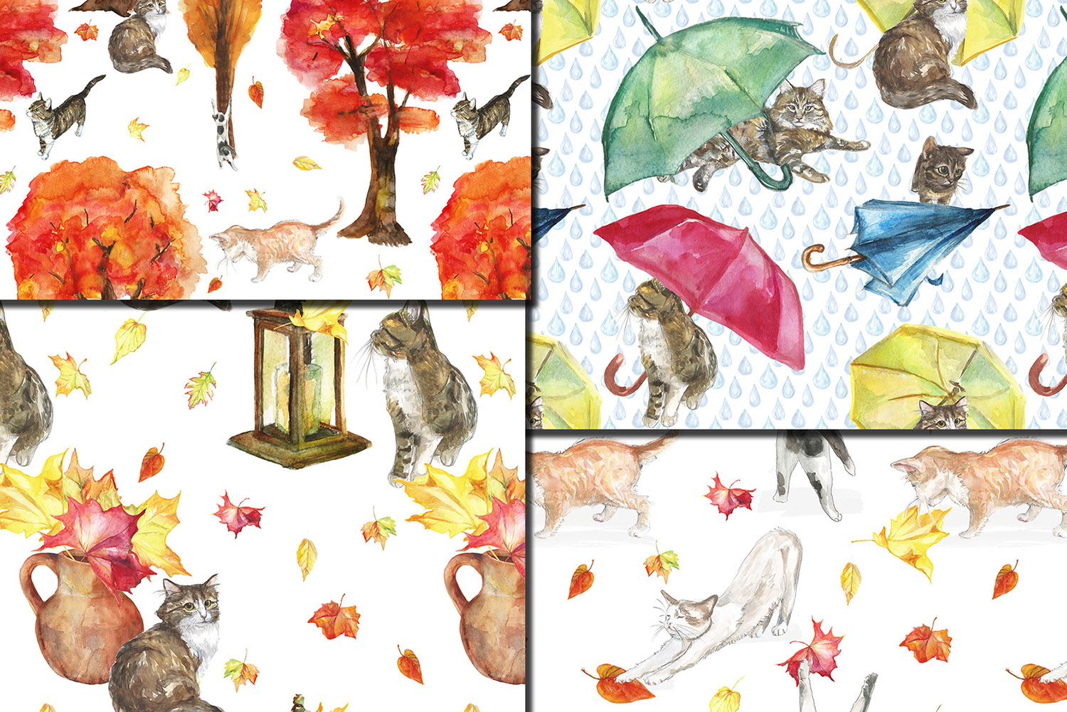 Watercolor Autumn Cats seamless patterns example image 2