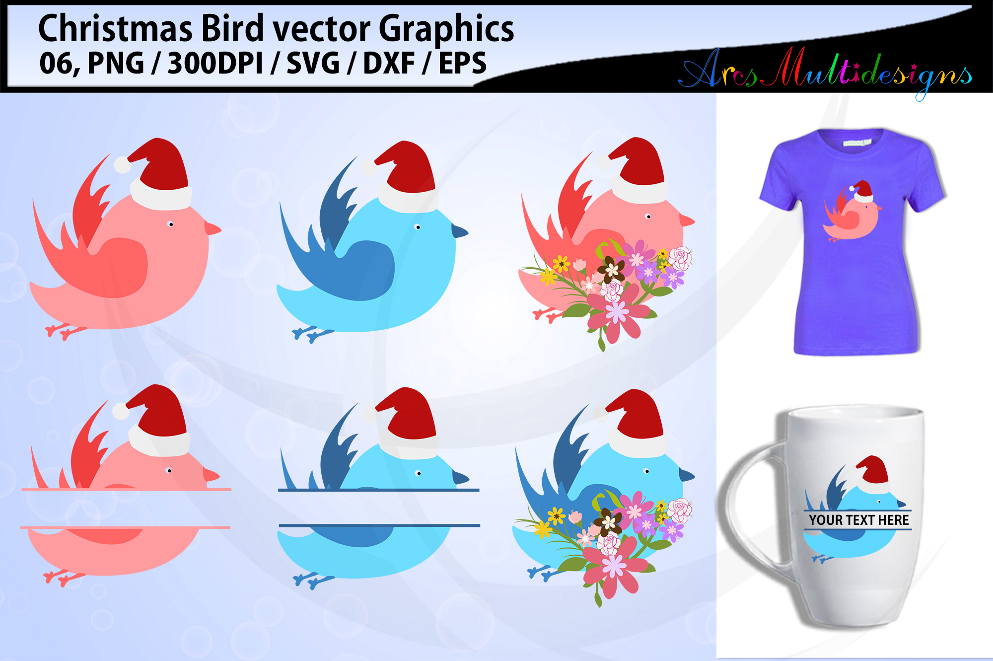 Christmas Birds svg / Christmas love birds svg / floral bird example image 1