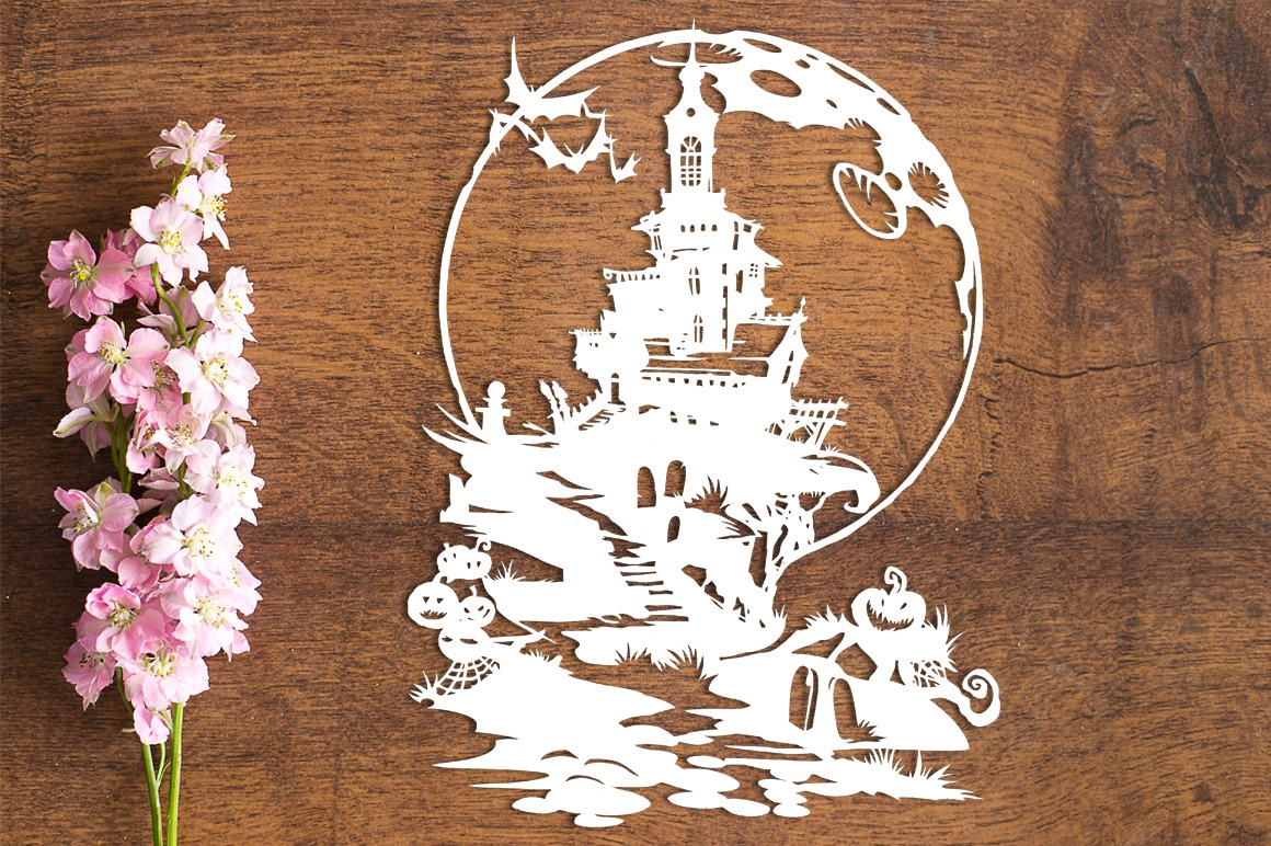 Haunted House - Paper Cutting Template example image 1