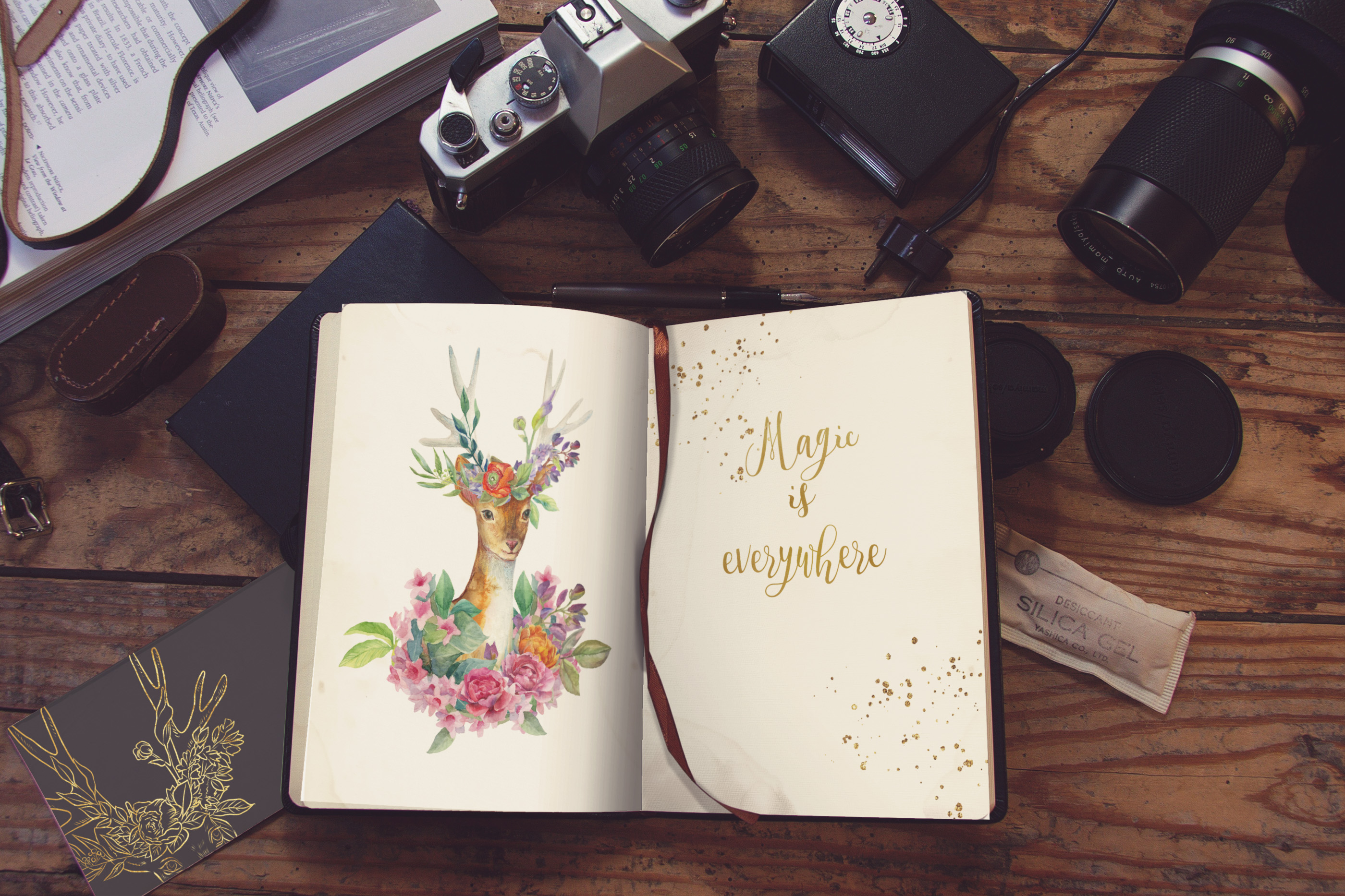 Watercolor floral deer printable clipart, golden graphics example image 8