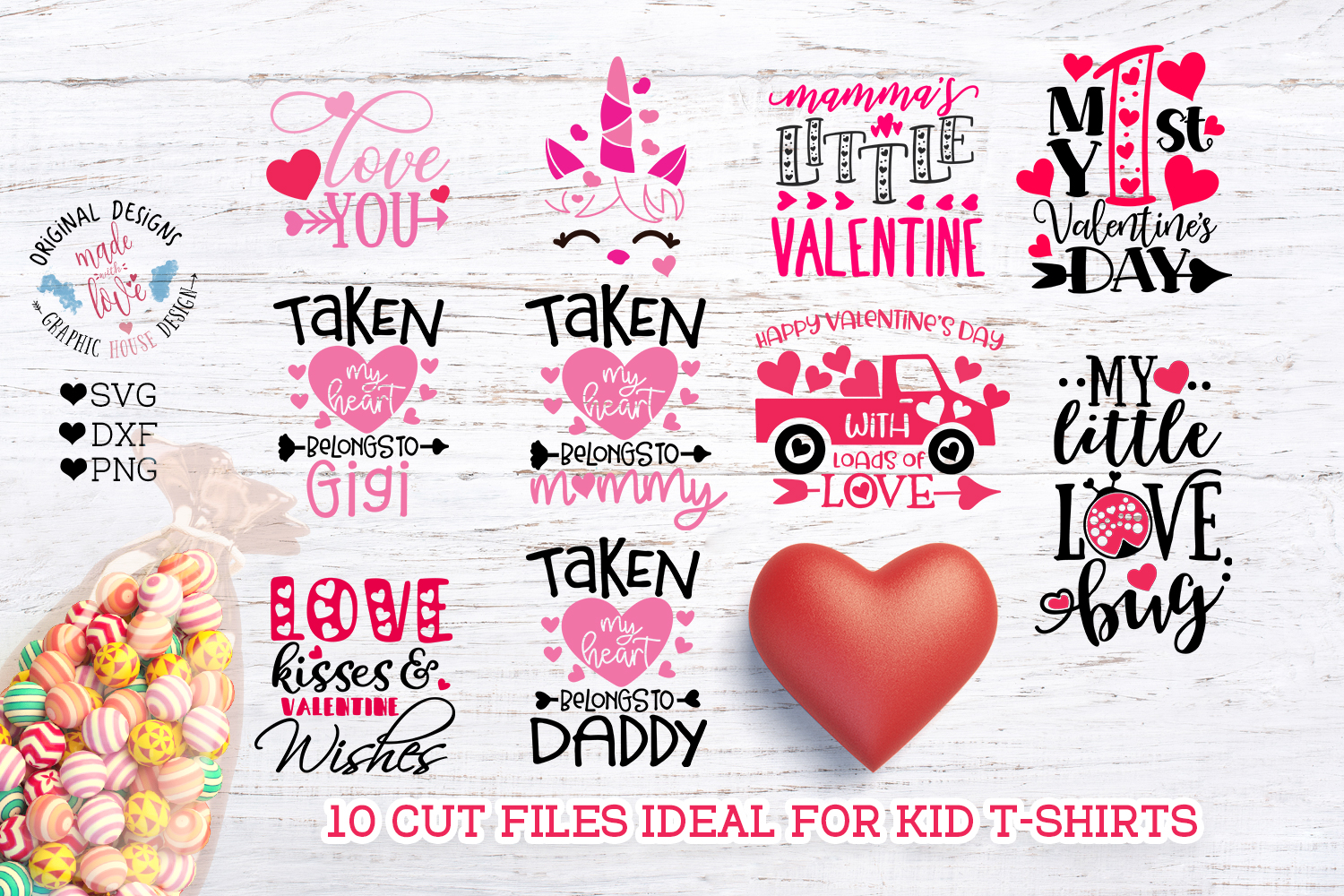 Valentine's Day Kids Baby T-Shirt Cut Files example image 1