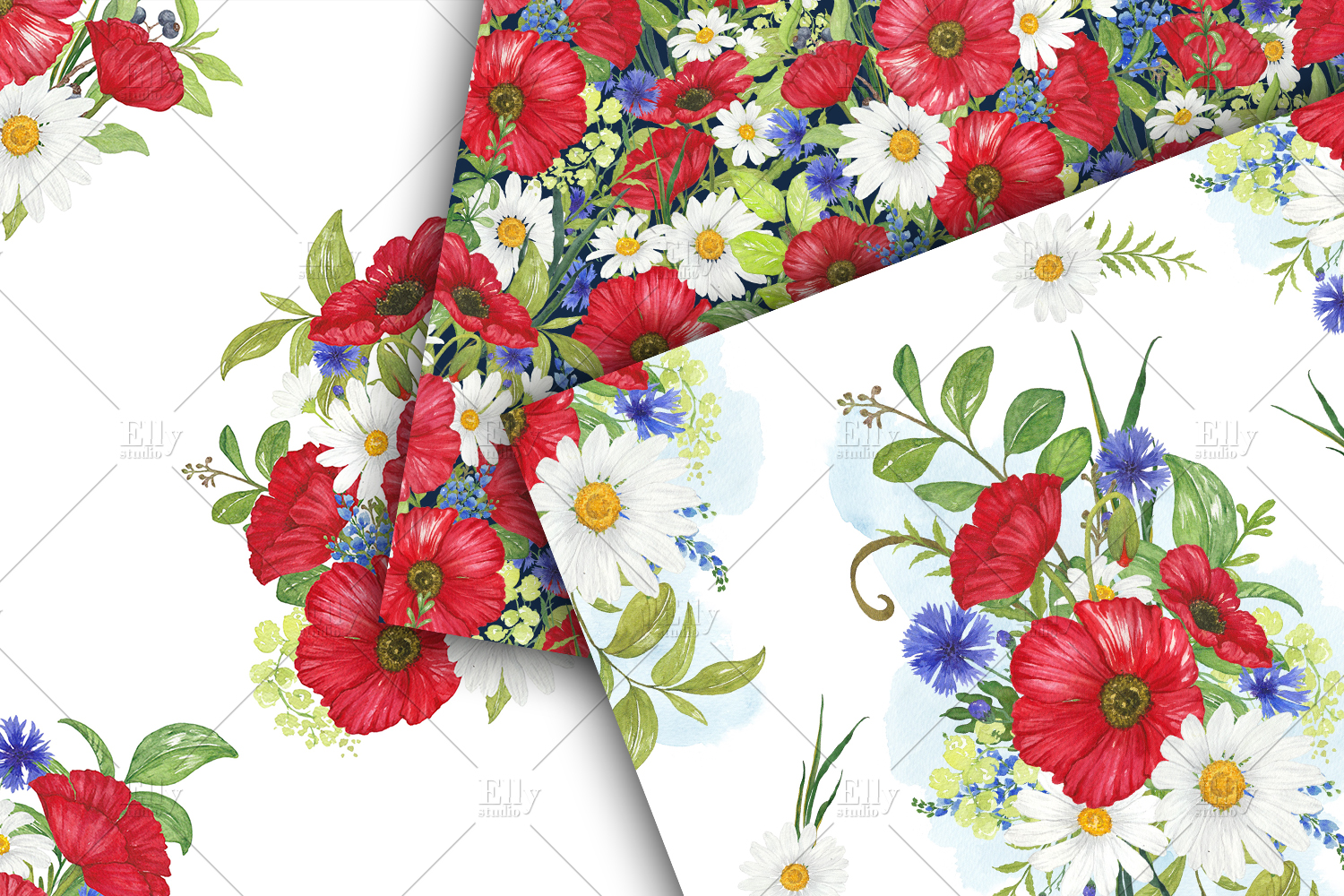 Poppies Digital Papers Floral Seamless Patterns example image 4