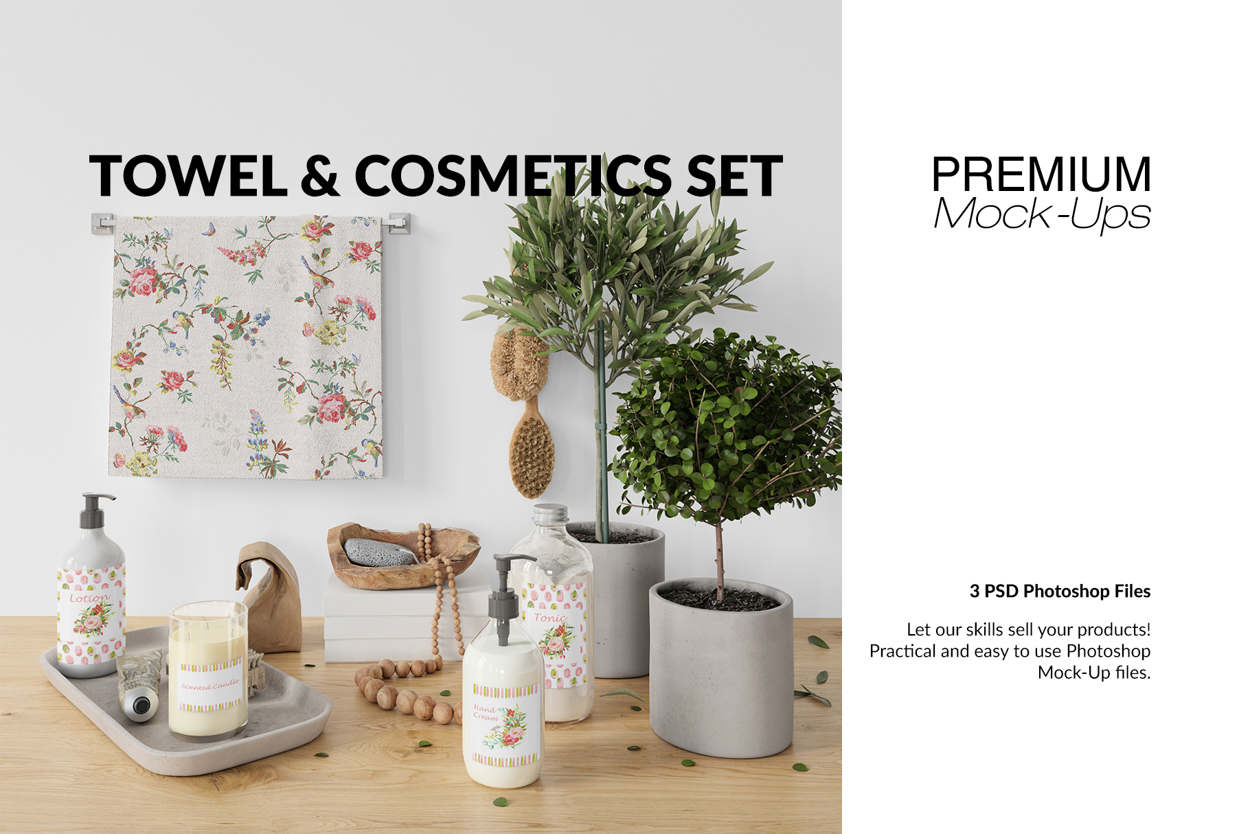 Towel & Cosmetics Mockup Set example image 1