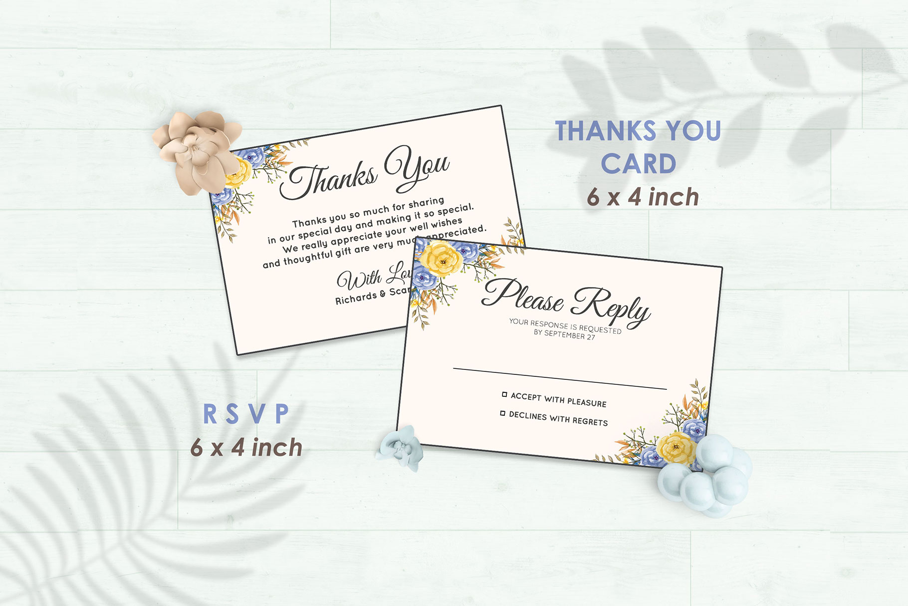 Wedding Invitation Set #6 Watercolor Floral Flower Style example image 4