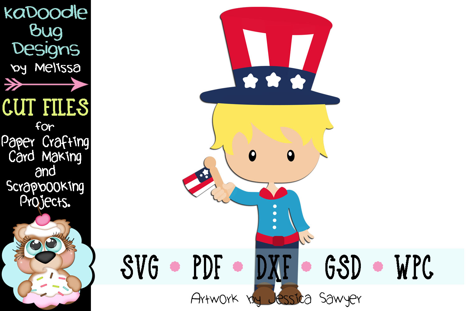4th of July American Boy Cut File - SVG PDF DXF GSD WPC example image 1