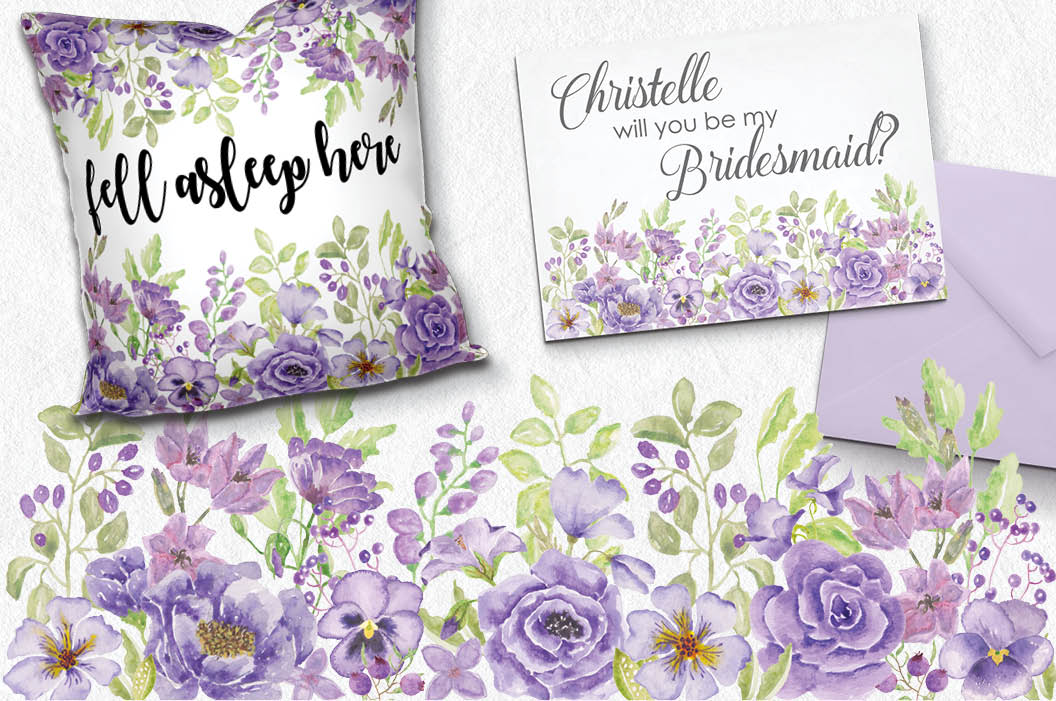 Watercolor clip art bundle: 'Purple Passion' example image 5