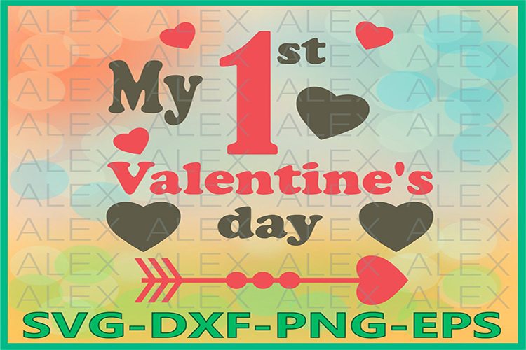 Valentine's Day SVG, 1st Valentines Day svg, Valentines Day example image 1