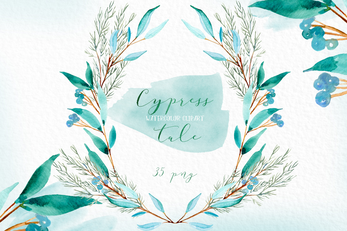 Cypress tale. Watercolor clipart. Cypress christmas branches example image 2
