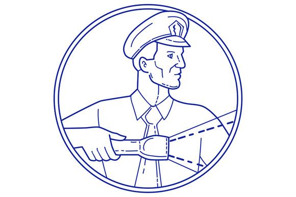 Security Guard Flashlight Circle Mono Line example image 1