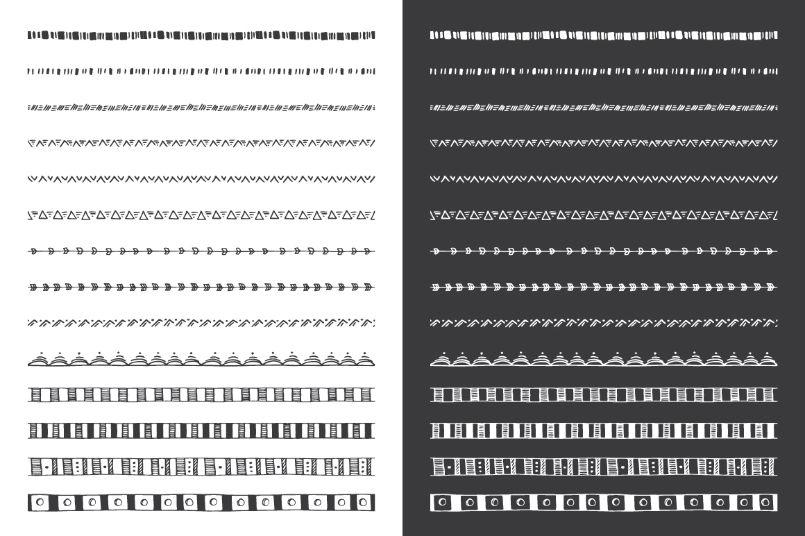 Hand Drawn Pattern Brushes Bundle - Volumes 01, 02 & 03 example image 15