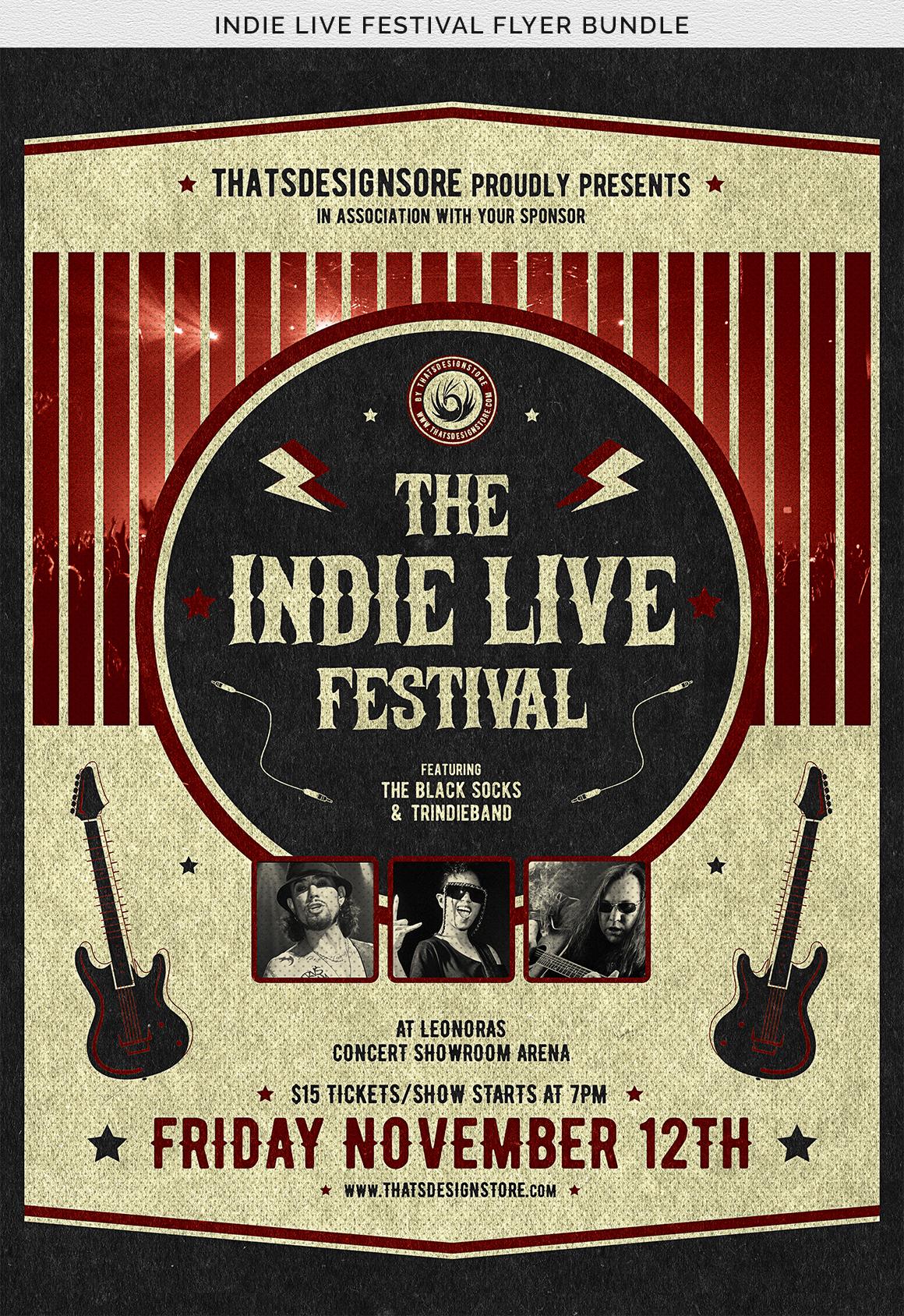 Indie Live Festival Flyer Bundle example image 13