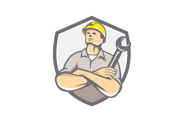 Builder Arms Crossed Wrench Shield Retro example image 1