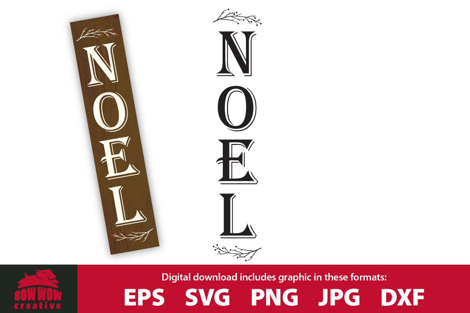 Christmas vertical porch sign - Noel - EPS SVG PNG JPG DXF example image 1