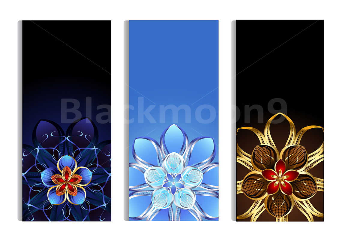 Vertical Banners with Abstract Flowers example image 1