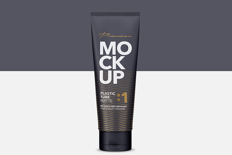 Glossy Plastic Cosmetic Tube Mockup - Front View - 01 example image 3