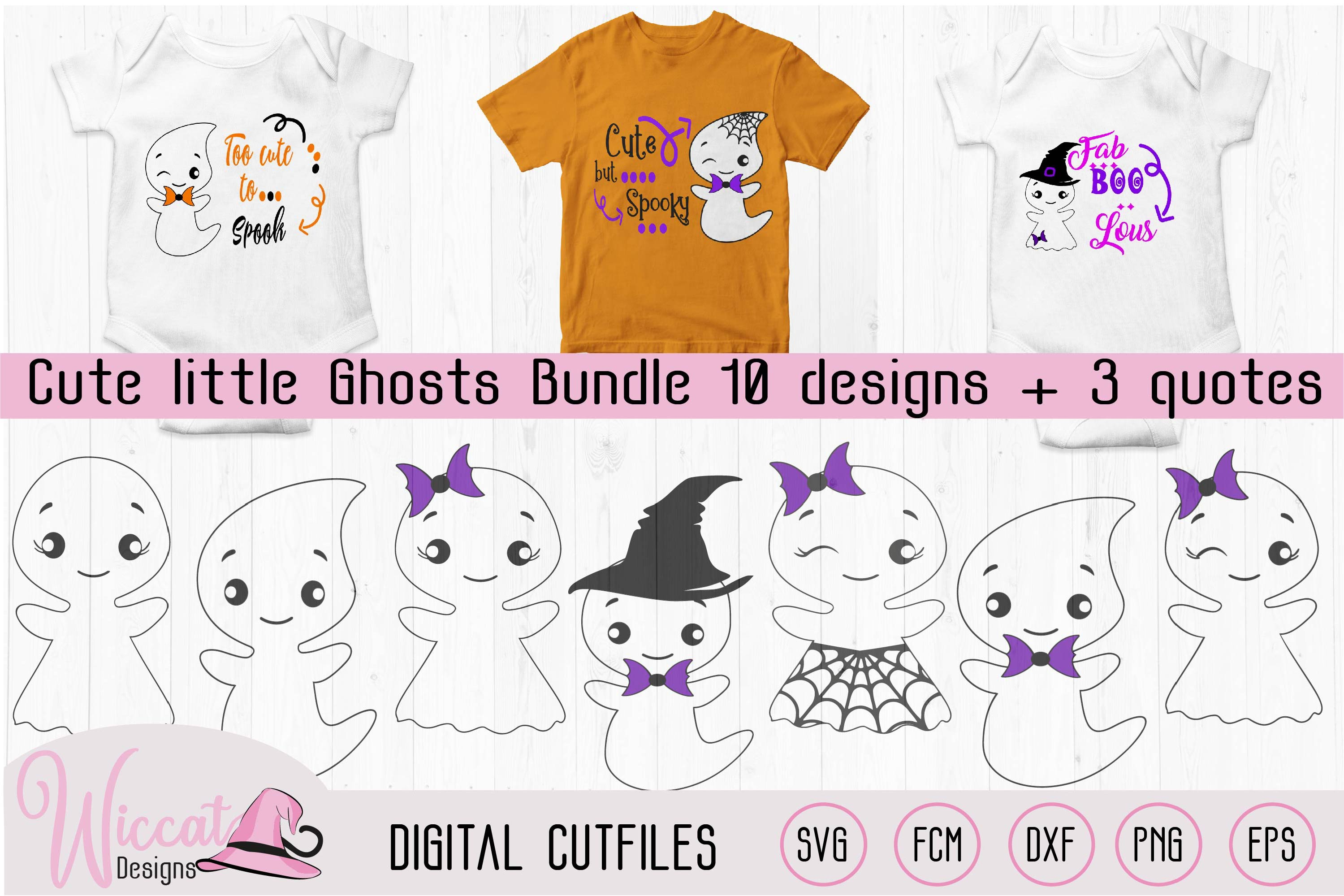 Cute little ghost bundle, scanncut, cricut, vinyl craft example image 1