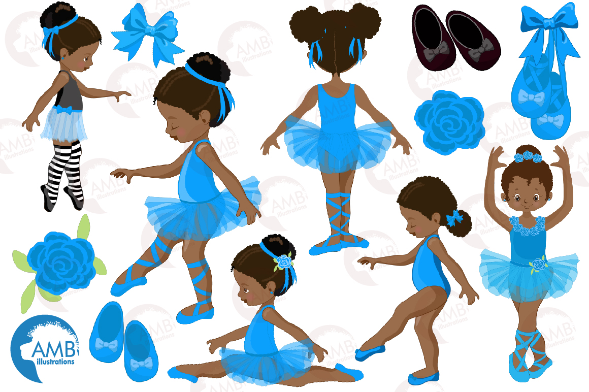 Ballerinas in blue clipart, graphics illustration AMB-1946 example image 5