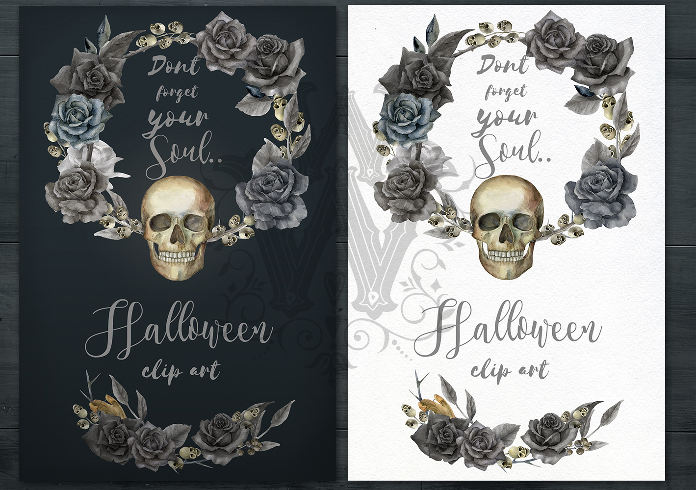 Watercolor Halloween compositions, skull bouquets wreath example image 4