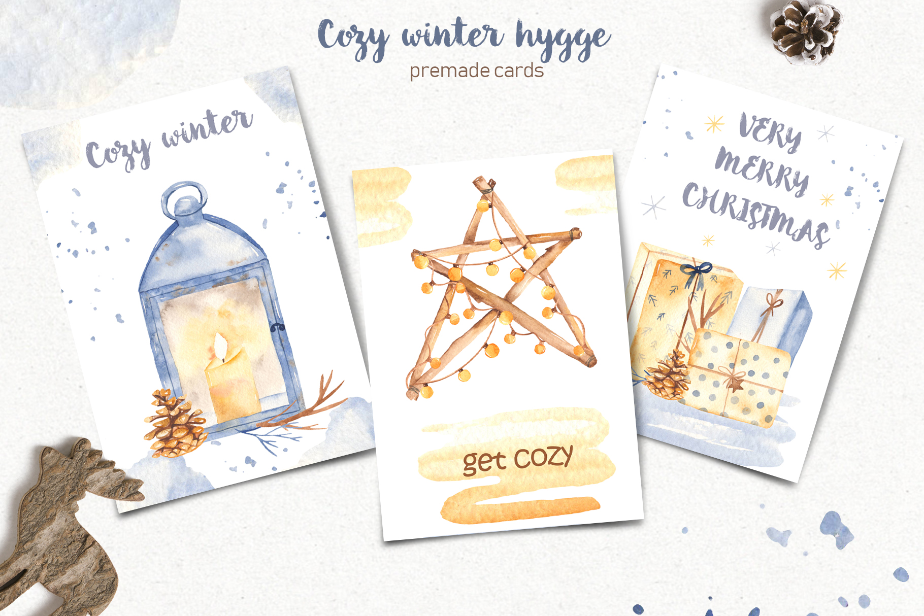 Hygge watercolor clipart Christmas cozy winter collection example image 5
