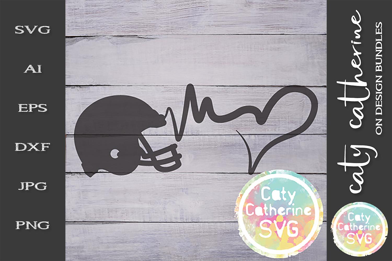 Heartbeat Love Heart American Football SVG Cut File example image 1