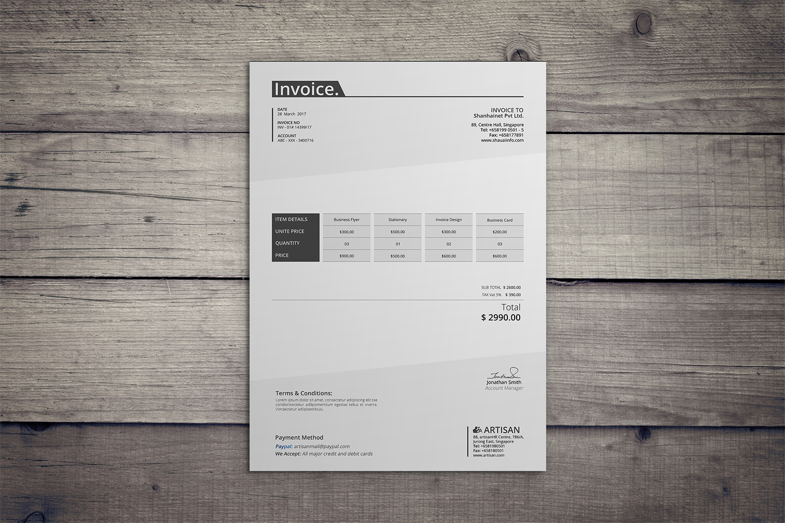 Invoice Template example image 2