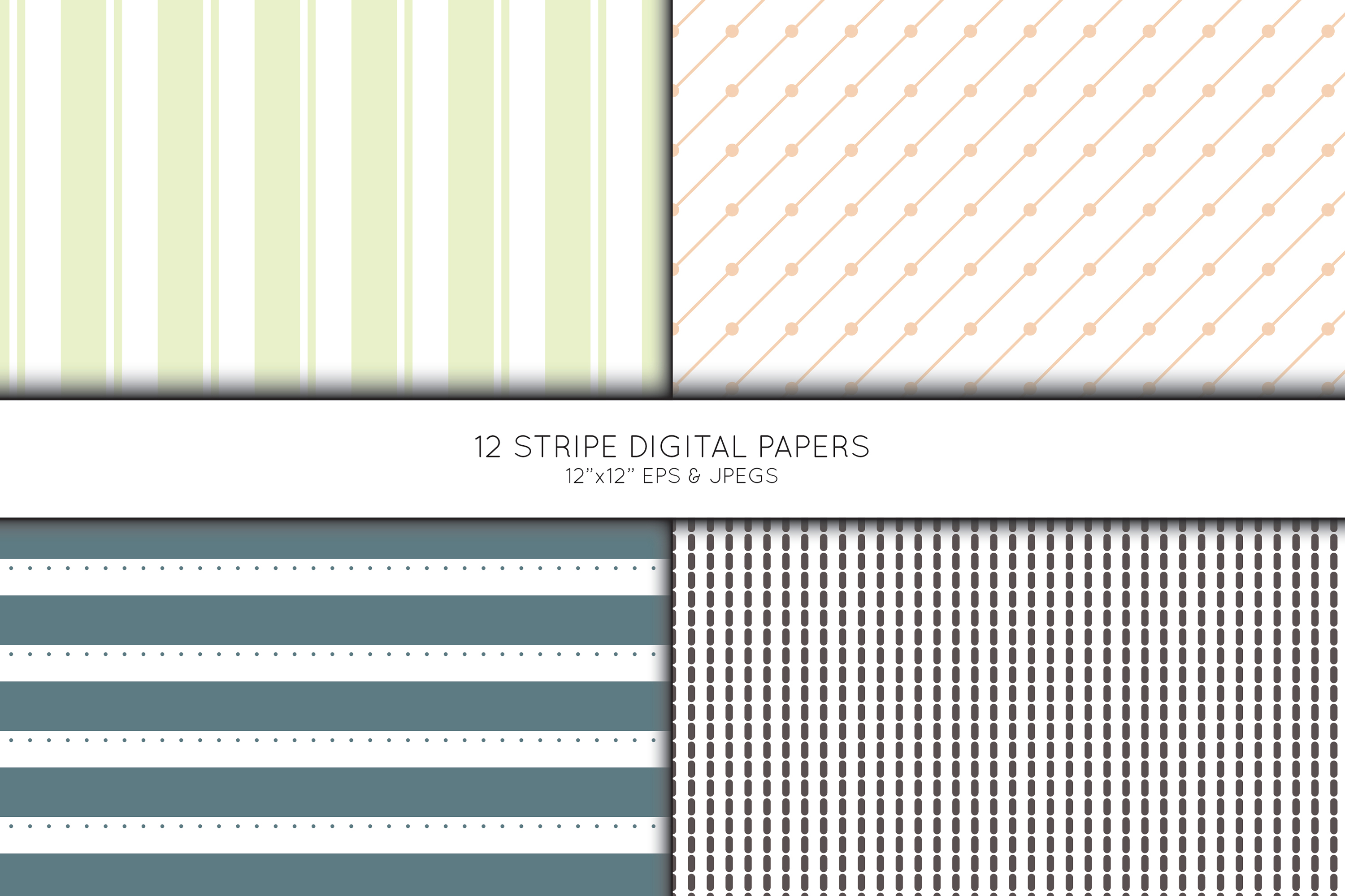 Stripe Digital Paper, Striped Scrapbook paper example image 4