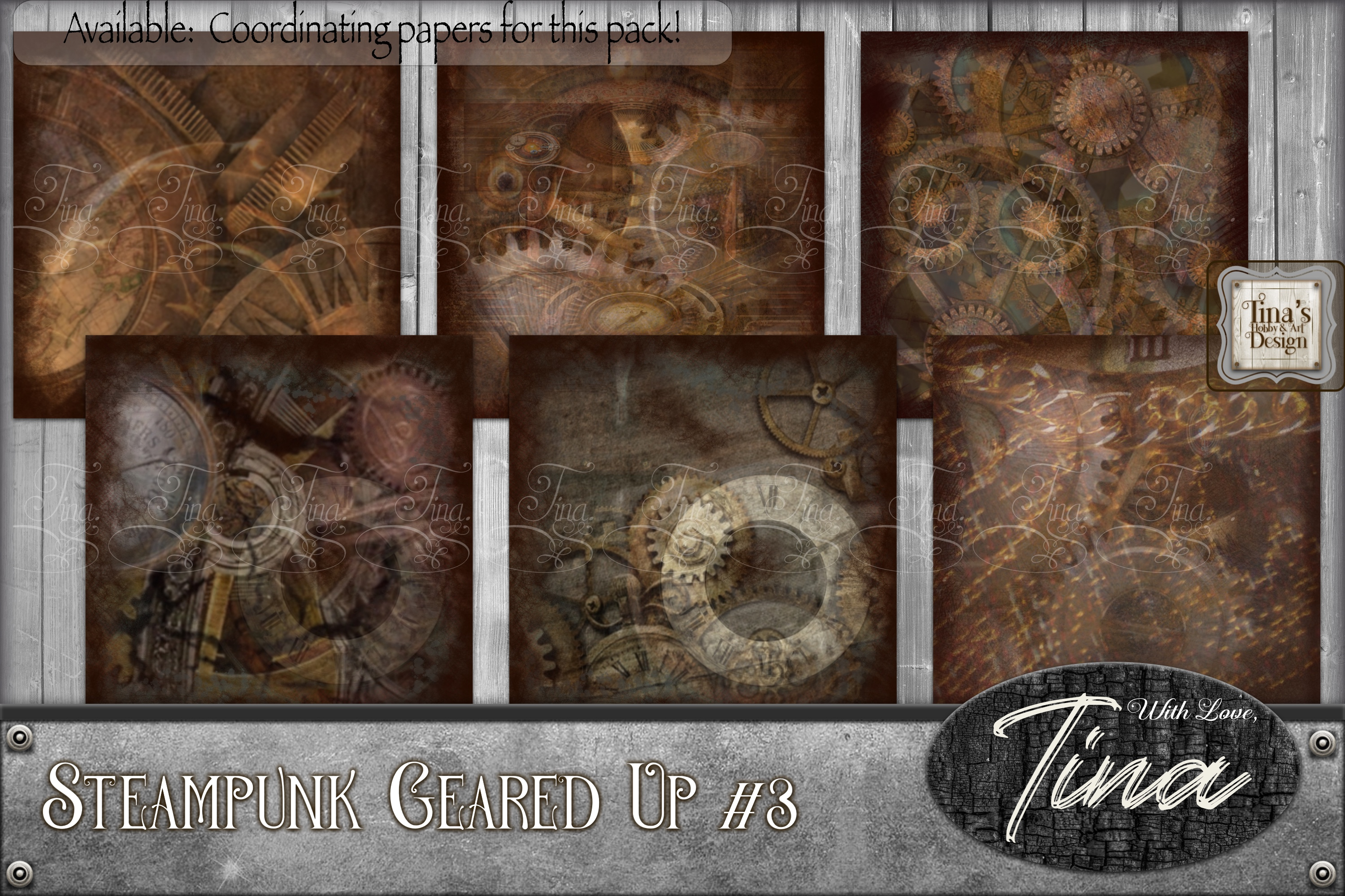 Steampunk Geared Up Gears Clocks Grunge 092918GU3 example image 1