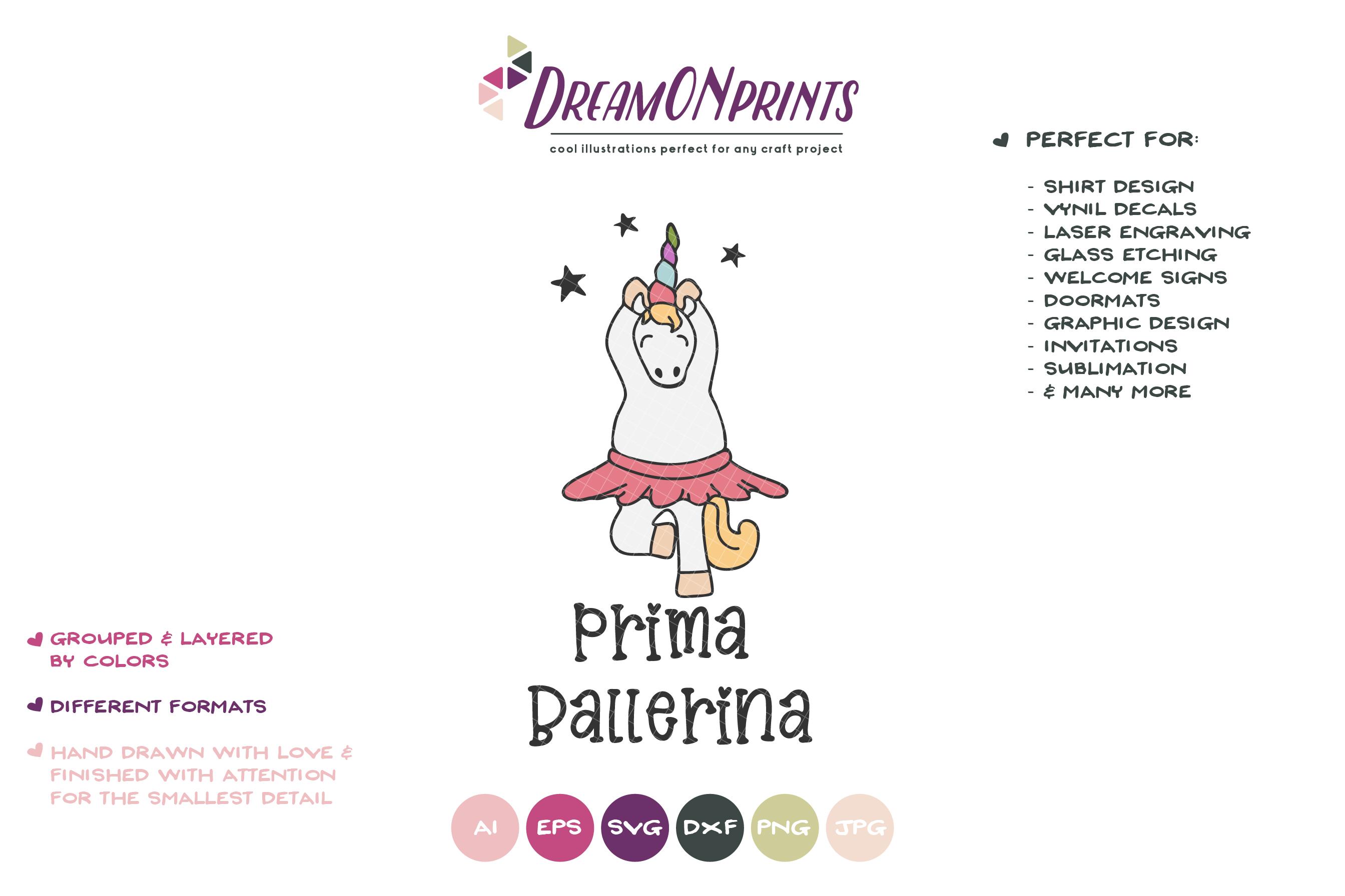 Prima Ballerina| Dancing Unicorn SVG Cut Files | Ballet example image 2