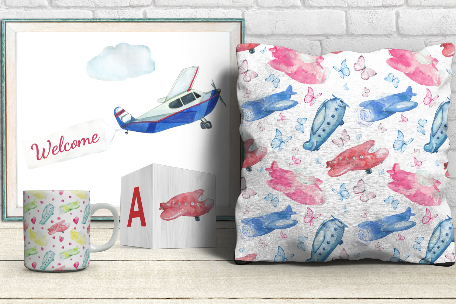 Watercolor Kid's airplanes clipart, patterns example image 5