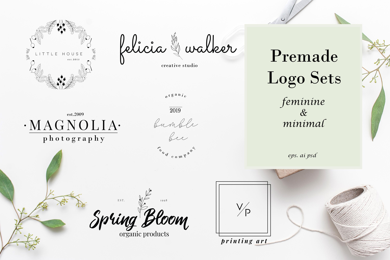 Minimal Premade Logo sets, feminine and minimal example image 1