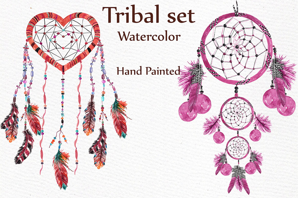 Watercolor tribal set example image 2