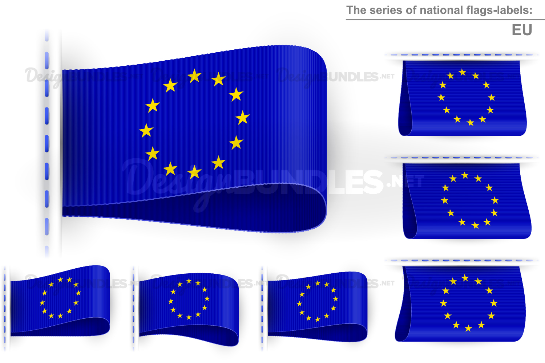 Vector Flag Tag Clothes Label Sticker Sewn Set EU Blue example image 1