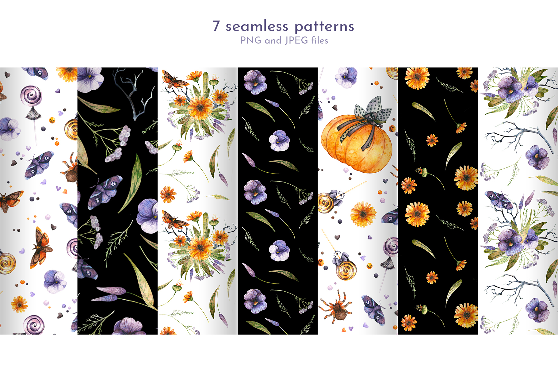 Floral Halloween. Watercolor backgrounds and elements example image 5