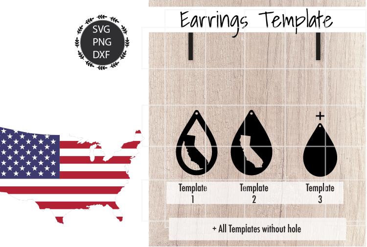 Earrings Template - California Teardrop Earrings Svg example image 2